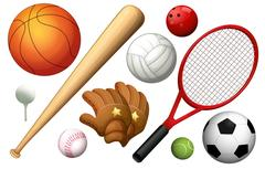 Different types of sport equipments Stock Illustration