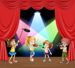 Kids performaning music on stage Stock Illustration