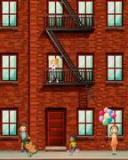 Apartment building with many kids Stock Illustration