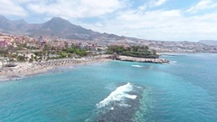 Playa de las Americas in Tenerife, aerial view Stock Footage