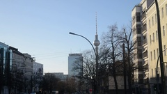 A view of the television tower in Alexanderplatz, Berlin Stock Footage