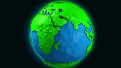 4K Lowpoly Design Earth Spinning Seamless Loop 3D Animation Stock Footage