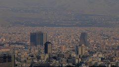 Cityscape Tehran capital of Islamic republic of Iran sun light over buildings Stock Footage