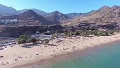 Playa de las Teresitas in Tenerife, aerial view Stock Footage