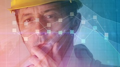 Foreman analyzing construction industry project infographics Stock Footage