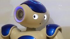 Humanoid robot looking Stock Footage