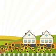 Neighboring Country Houses With Colorful Hills And Sunflowers Stock Illustration