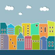 Colorful Houses For Rent / Sale. Real Estate Concept Stock Illustration