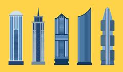 Skyscraper flat icon set isolated Stock Illustration