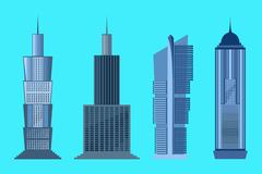 Skyscraper icon set isolated on blue background Stock Illustration