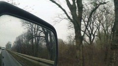 Car wing mirror, driving through bare treetop countryside Arkistovideo