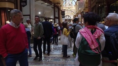 Christmas Shoppers At Hopetoun Tea Rooms In The Block Arcade Melbourne Australia Stock Footage