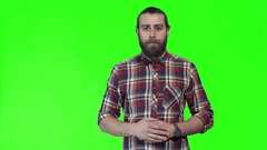 Young man posing on chromakey background Stock Footage