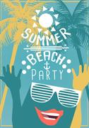 Minimal Flat Summer Beach Party Flyer Template with Sunglasses - Vector Ill.. Piirros