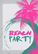 Summer Beach Party Flyer Template - Vector Illustration Stock Illustration