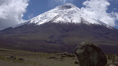The snowcapped Cotopaxi Volcano in the Ecuadorian Andes Stock Footage