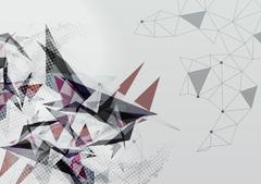Wireframe Mesh Polygonal Background - Vector Illustration Stock Illustration