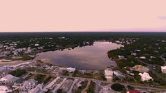 Aerial shot of beach with lake. Florida Stock Footage