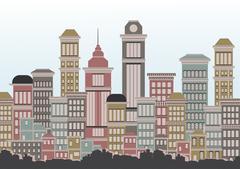 Town City Street - Vector Illustration Piirros