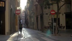 View to small cobbled street in Valencia, Spain Stock Footage