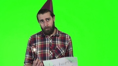 Bearded man with sparkle and happy sign Stock Footage