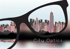 Out of Focus Business Building City with Sky and with Glasses that Correct .. Stock Illustration