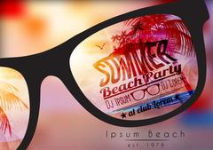 Summer Beach Party Flyer Design with Sunglasses on Blurred Background - Vec.. Piirros