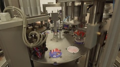 Dairy plant packing equipment in running position Stock Footage