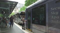 Collins Street Tram Stop Melbourne Australia Stock Footage