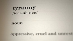 Tyranny Definition Stock Footage