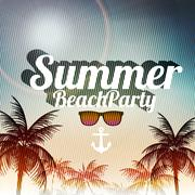 Beach Party Poster with Palm Trees - Vector Illustration Piirros