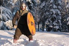 Swordsman in the winter forest in historical armor Kuvituskuvat