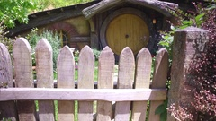 A Hobbit House From The Lord Of The Rings Movie Set Hobbiton New Zealand Stock Footage