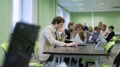The educational process in modern universities. Students are sitting at the Arkistovideo