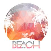 Beach Party Poster with Tropical Island and Palm Trees - Vector Illustration Piirros