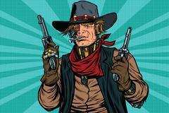 Steampunk robot cowboy bandit with gun Stock Illustration