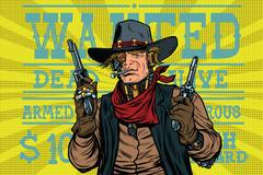 Steampunk robot bandit wild West, wanted Piirros