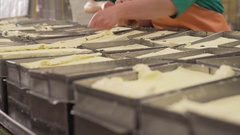 Finished fresh milk product at production line Stock Footage