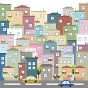 Colorful City. Apartments For Sale / Rent. Real Estate Concept Stock Illustration