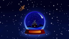 Footage Happy Holidays with snow glass globe and snowflakes Stock Footage