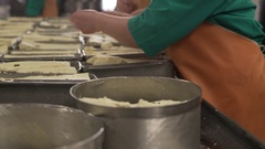 Finished dairy product at production line Stock Footage