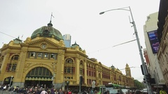 The Historic Exterior Of Flinders Street Station Melbourne Australia Stock Footage