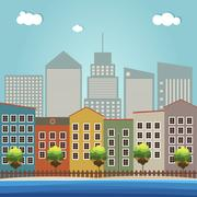 Modern Colorful City Concept Stock Illustration