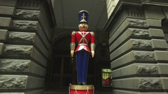 A Giant Traditional Nutcracker Outside Melbourne Town Hall Australia Stock Footage