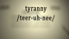 Definition: Tyranny, animation Stock Footage