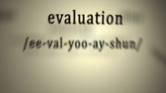 Definition: Evaluation, animation Stock Footage