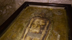 Detail of a copy of the Holy Shroud of Turin, Italy Stock Footage