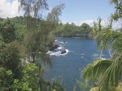Hilo Island of Hawaii coastal line sunny day aerial Stock Footage