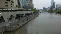 The Yarra River In Melbourne And Southbank Promenade At Hamer Hall Stock Footage