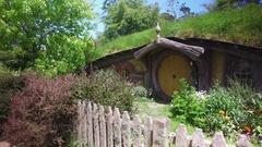 Hobbit House Hole In Hobbiton New Zealand Stock Footage